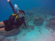 Natalia diving in the Mcbean Lagoon